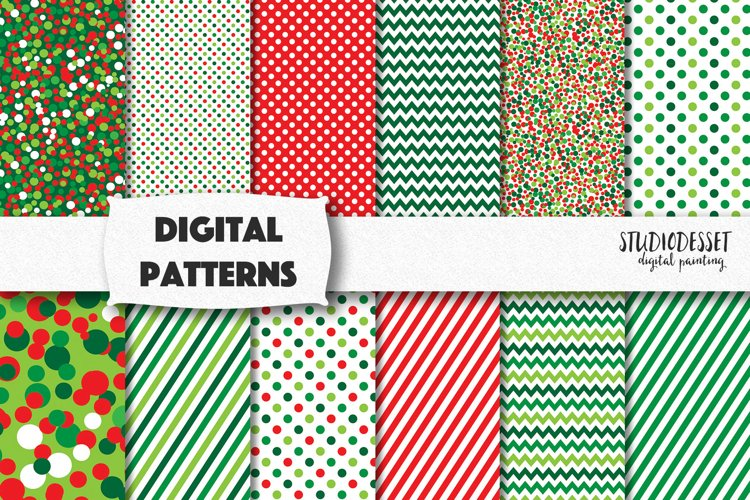 Green Christmas Digital Papers   Christmas Patterns