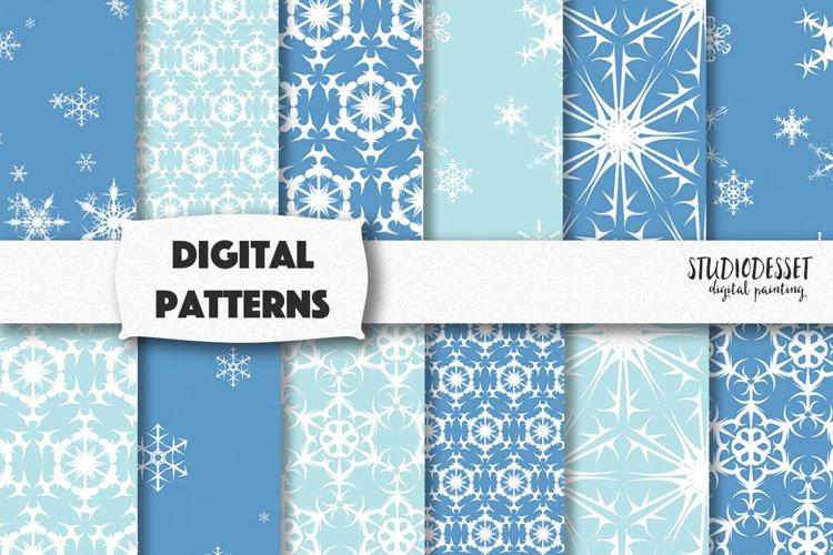 Snowflakes Digital Paper   Blue Christmas Patterns
