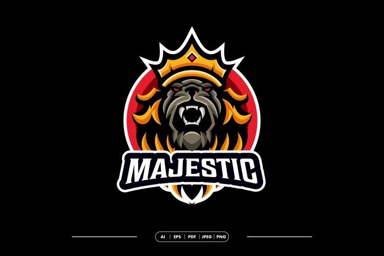 Majestic Crown Lion Mascot Logo Template