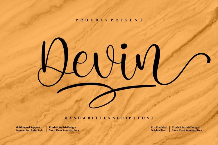 Devin _ Handwritten Script Font example image 1