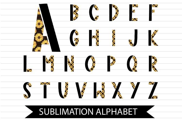 Sunflower Sublimation Alphabet - A-Z Letters in 300 DPI PNG
