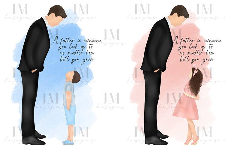 Father & Child Quote Illustration Design Set