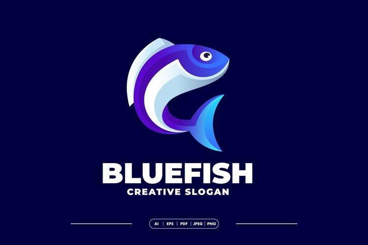 Gradient Blue Fish Modern Logo example image 1