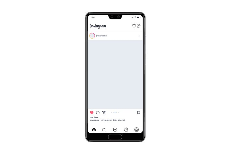Instagram post template on Smartphone vector illustration example image 1