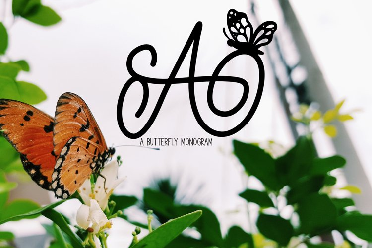 A Butterfly Monogram Font example image 1