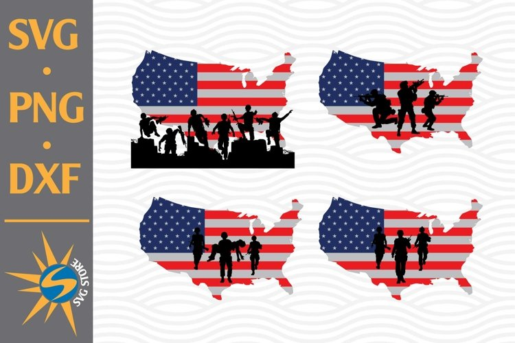 Soldier American Map Flag SVG, PNG, DXF Digital Files