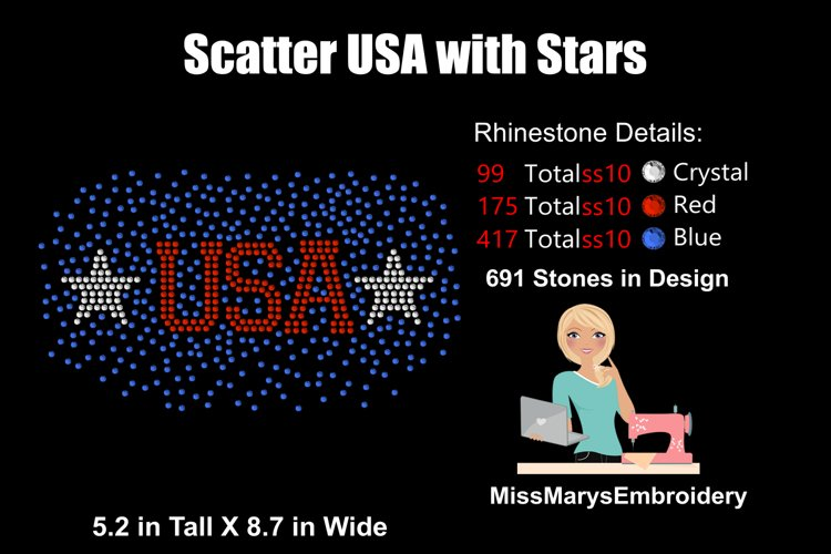 Scattered USA Rhinestone Template   Fourth of July SVG