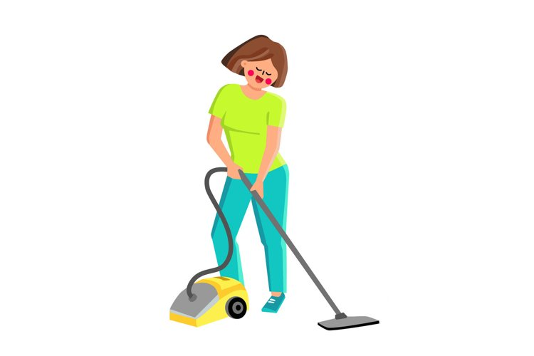 Vacuum Cleaner Using Girl For Cleaning Room Vector