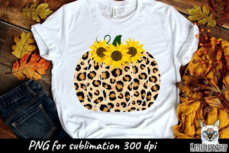 Leopard Pumpkin Sunflower Sublimation Design