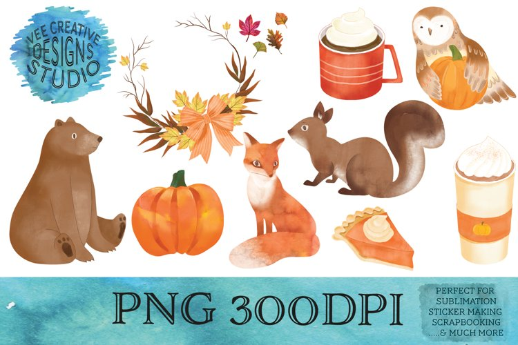 Fall Watercolor Clipart Bundle| Sublimation, Sticker Designs