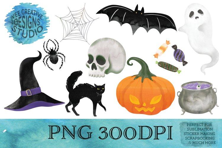 Halloween Watercolor Clipart Bundle| Sublimation, Stickers