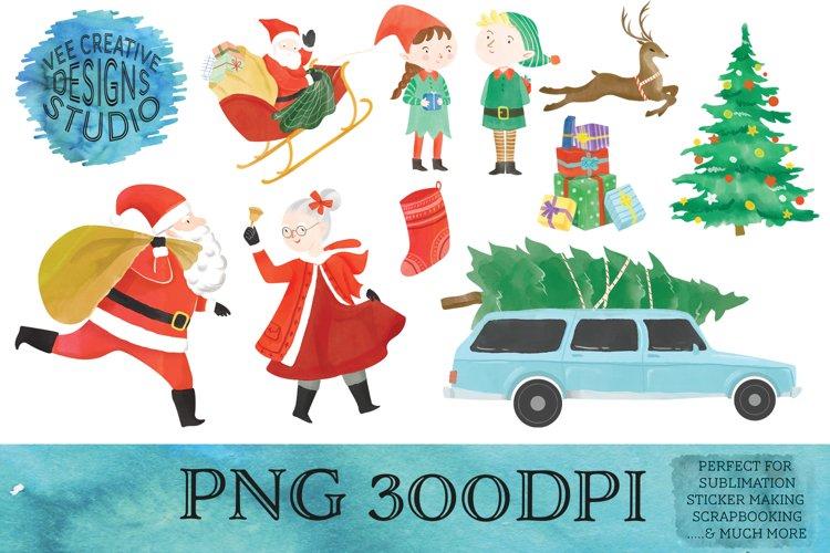 Christmas Sublimation Watercolor Clipart Bundle
