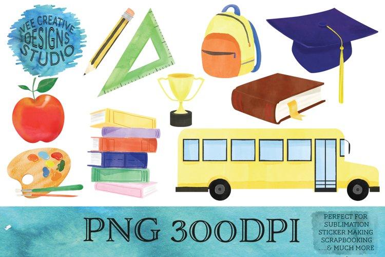 School Watercolor PNG Clipart Bundle| Graduation Designs example image 1