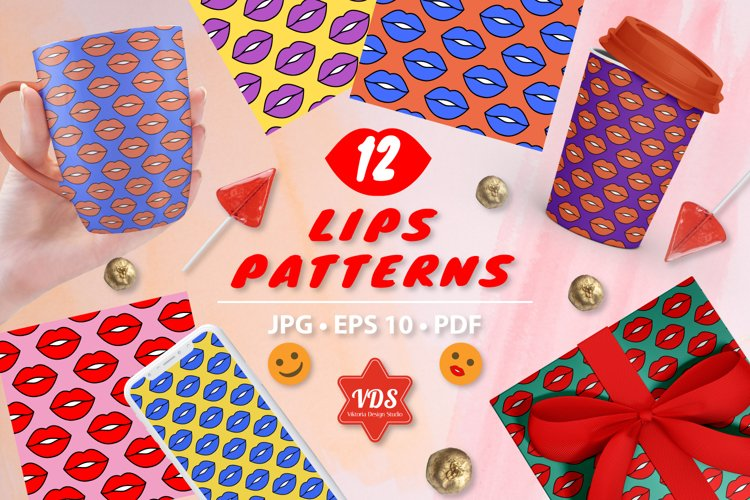 Colorful Lips. Seamless vector Patterns. Pop art.