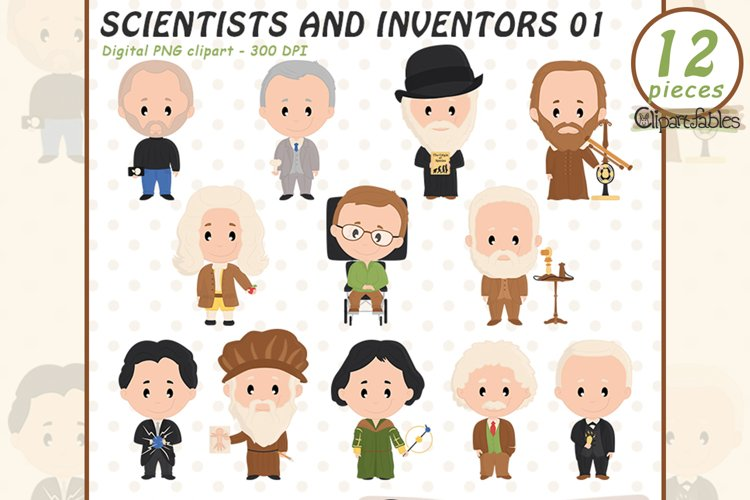SCIENTIST and famous INVENTORS clipart