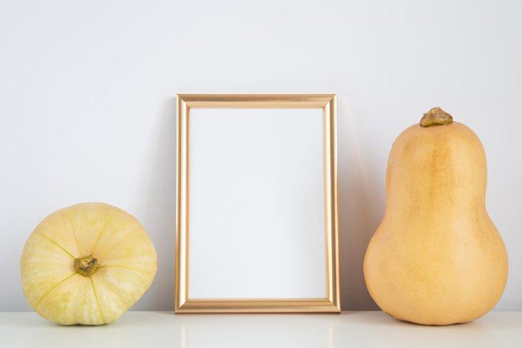 Fall mockup, vertical frame with pumpkin. Halloween, autumn