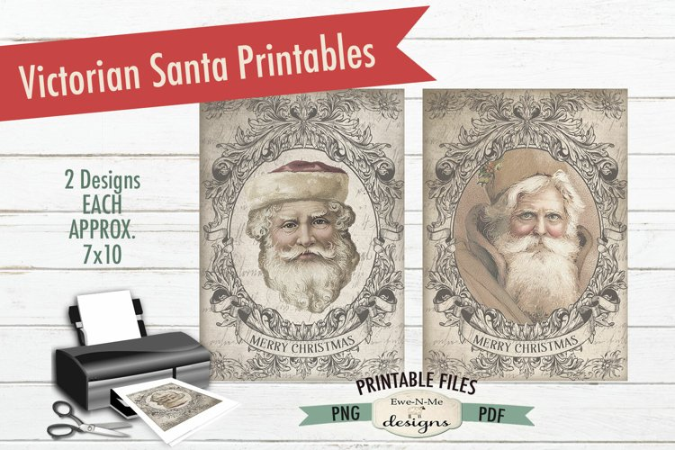 Printable Santa Images - Sepia Victorian Santa - PDF PNG