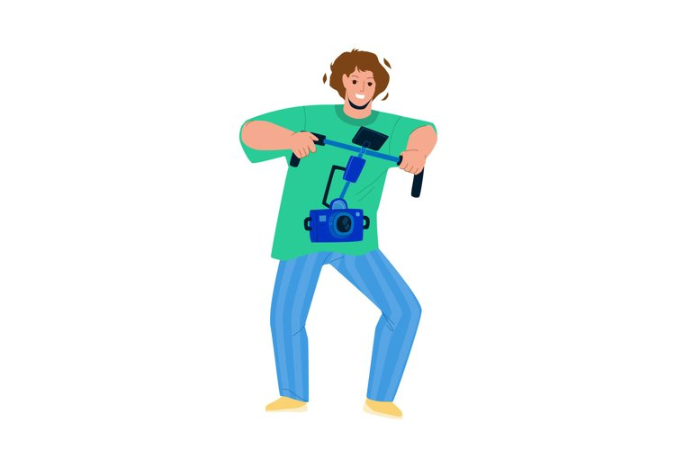 Videographer Make Video With Digital Camera Vector