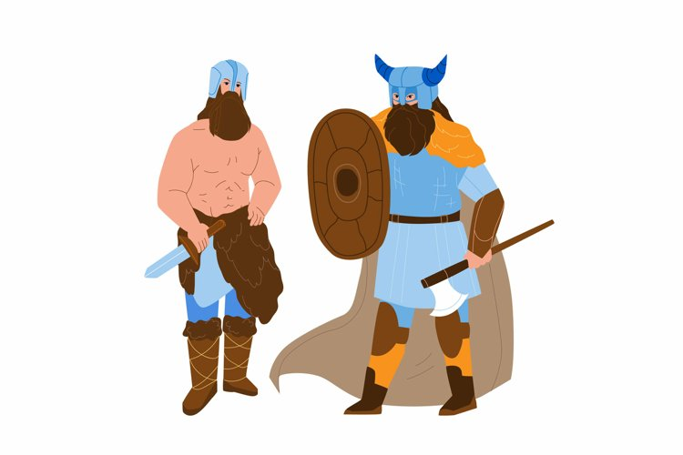 Viking Men Armoured With Axe And Shield Vector