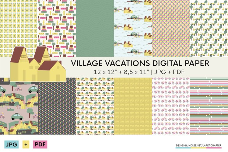 Village vacations digital papers | Summer holidays printable example image 1