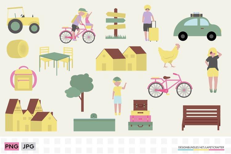 Village vacations clipart set | Summer holidays clipart