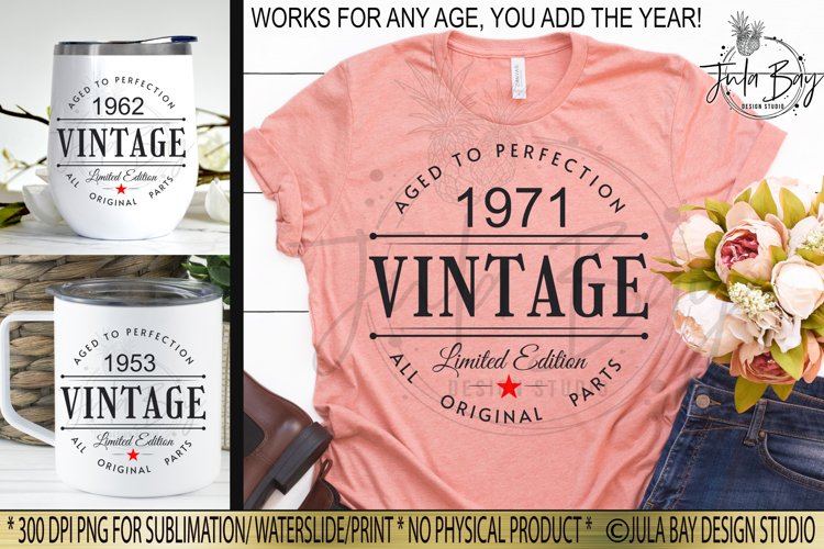 Vintage Aged To Perfection Birthday Sublimation Design PNG Customizable Year for all ages
