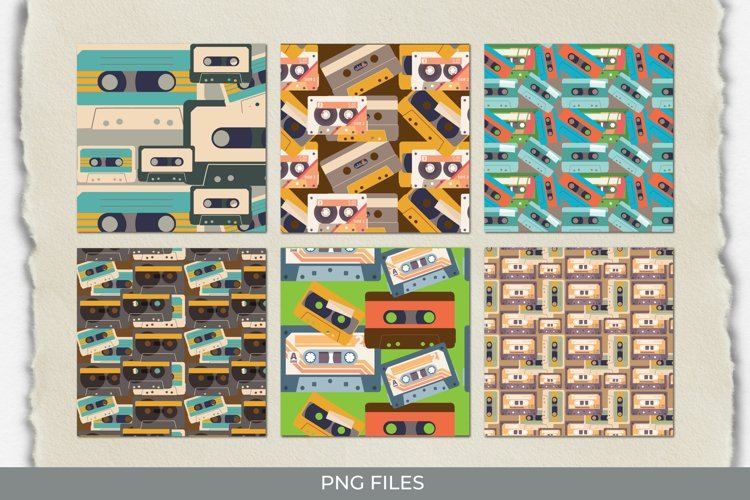 Vintage Audio Cassette Seamless Pattern Paper Pack example image 1