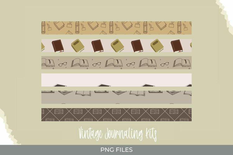 Vintage Book Seamless Pattern Strips example image 1