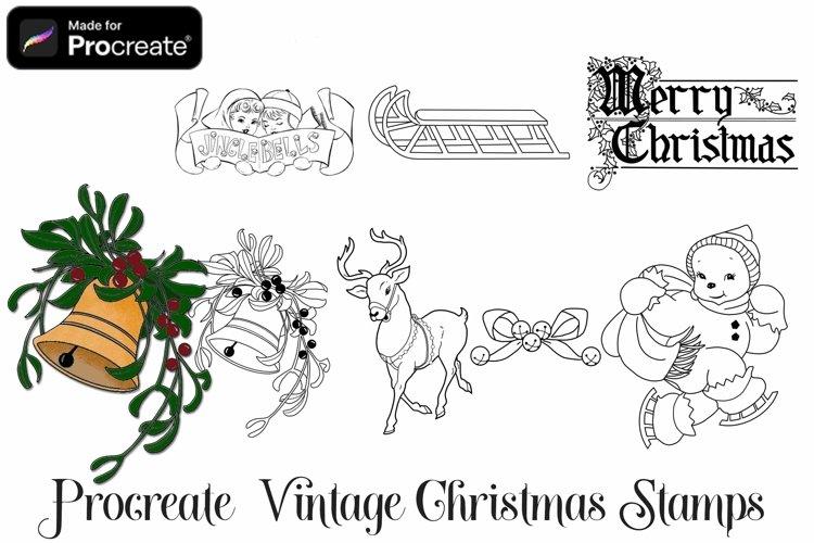 Vintage Christmas Procreate Stamps