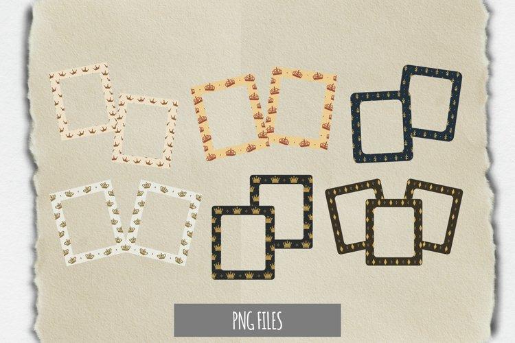 Vintage Crown Seamless Pattern Frame Set example image 1