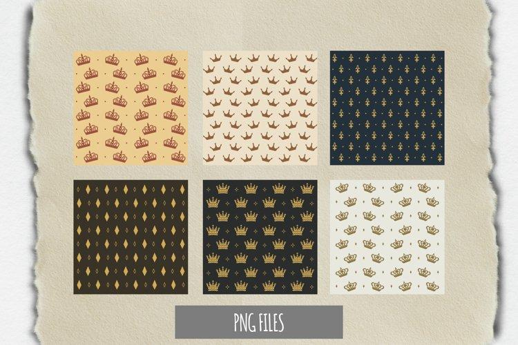 Vintage Crown Seamless Pattern Paper Pack example image 1