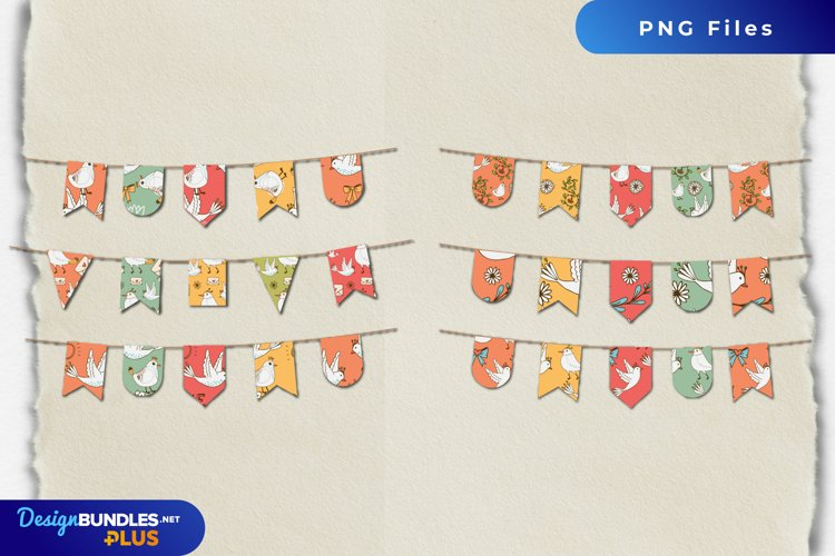 Vintage Dove Seamless Pattern Bunting Banner Set example image 1