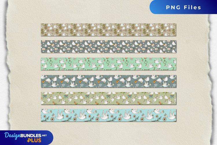 Vintage Dove Seamless Pattern Stripe example image 1