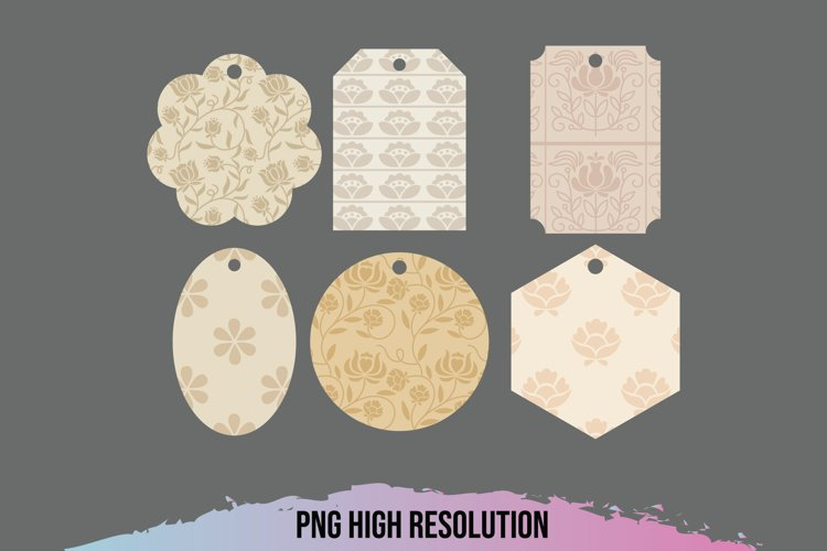 Vintage Floral Pattern Shaped Tags example image 1