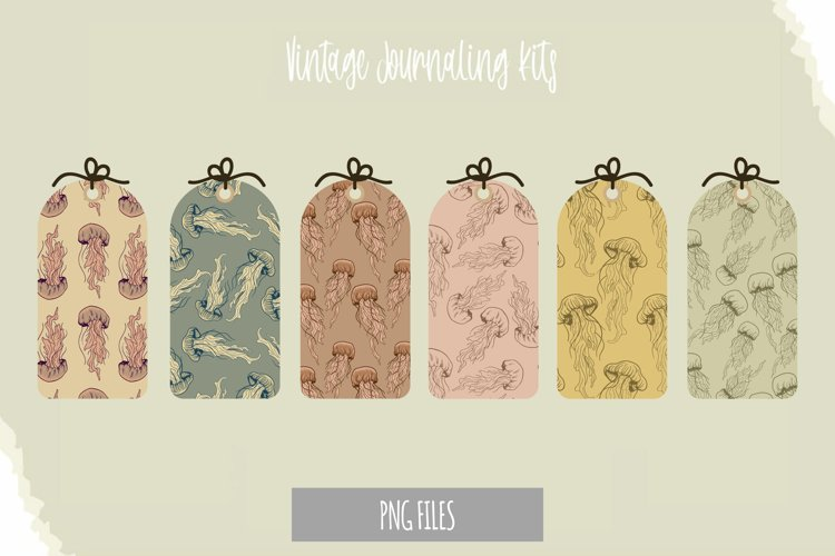 Vintage Jellyfish Seamless Pattern Shaped Tag example image 1