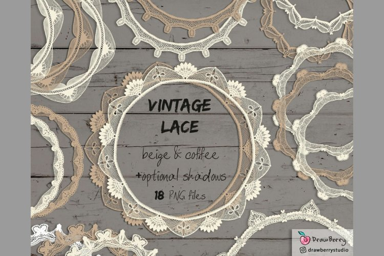 Vintage Lace Overlay Clipart Beige PNG | Drawberry CP073 example image 1