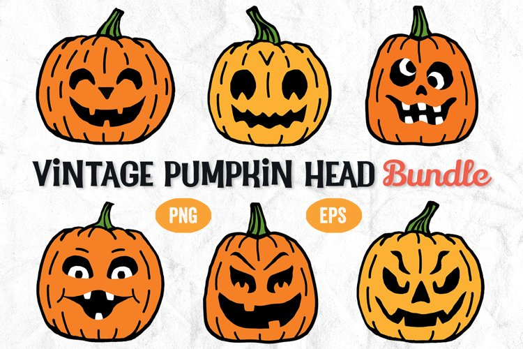 Pumpkin Head Bundle, Vintage Pumpkin Art, Retro Pumpkins