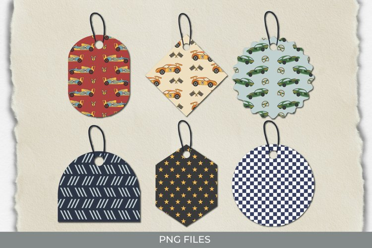 Vintage Racing Car Seamless Pattern Shaped Tags example image 1