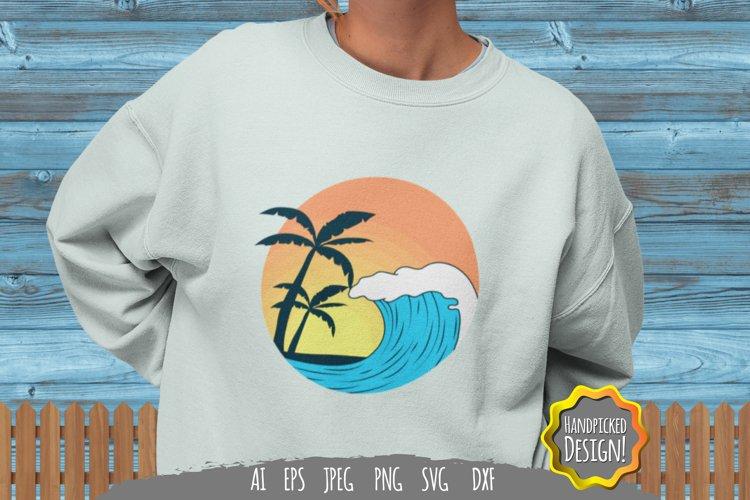 Vintage Sunset Wave for T-Shirt Design