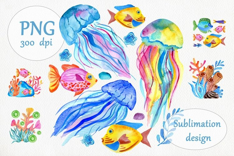Watercolor Fishes & Jellyfish Sublimation Design - PNG