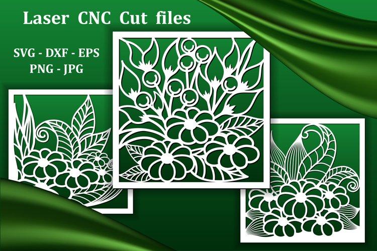 Wall art panels, laser cnc cut files. Floral pattern decor