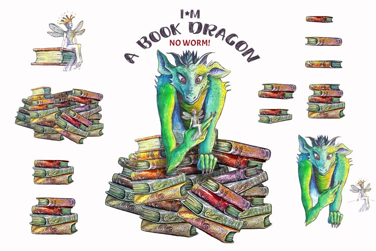 Watercolor vintage books and dragon example image 1