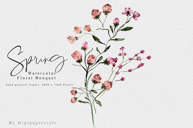 Spring Watercolor Bouquet, Floral Clipart, Summer florals