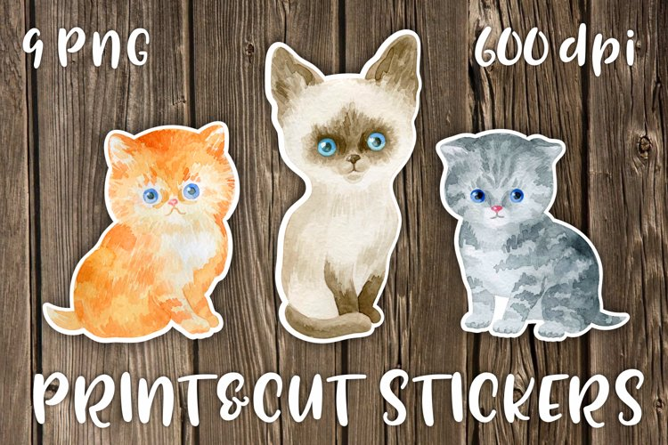 Watercolor cats printable stickers PNG