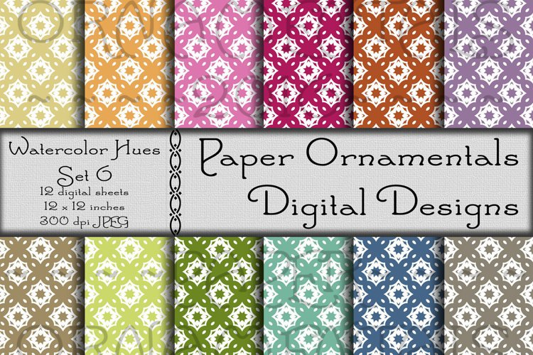 Watercolor Hues Set 6, Digital Paper For Crafts & Background
