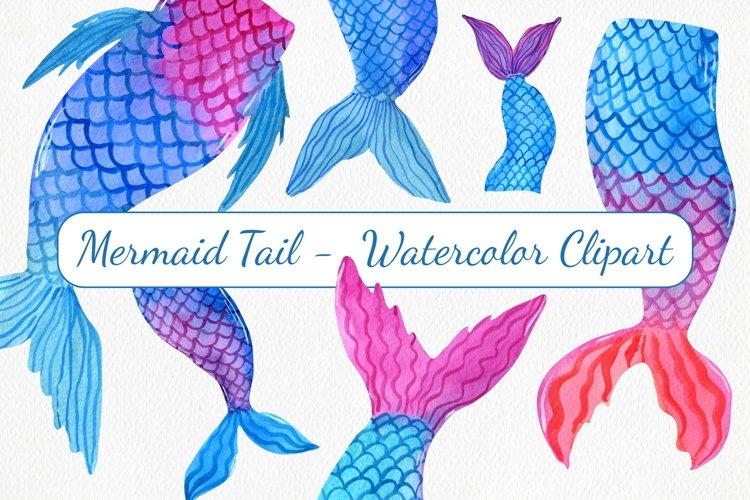 6 Watercolor Mermaid Tails - Watercolor Clipart