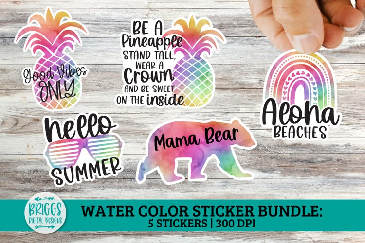 Summer Watercolor Sticker Bundle   print and cut stickers example image 1
