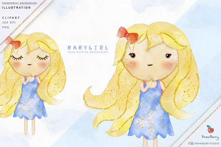 Cute Baby Girl Clipart - Blonde Blue Glitter  Drawberry i022 example image 1