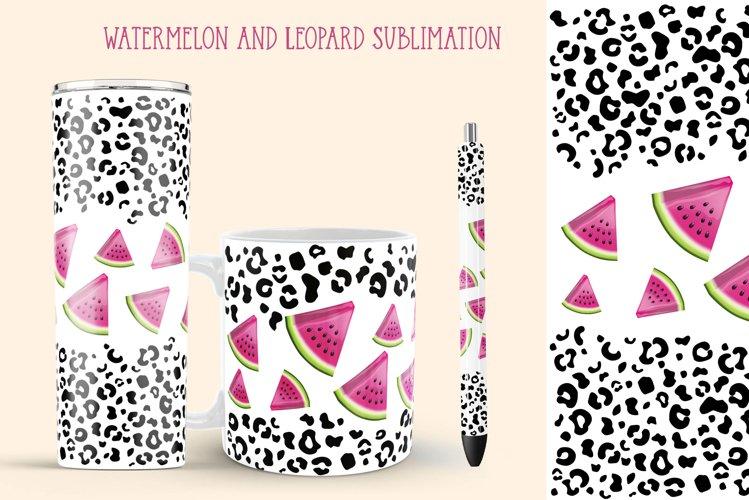 Watermelon Tumbler Sublimation. Leopard Pen And Mug Wrap