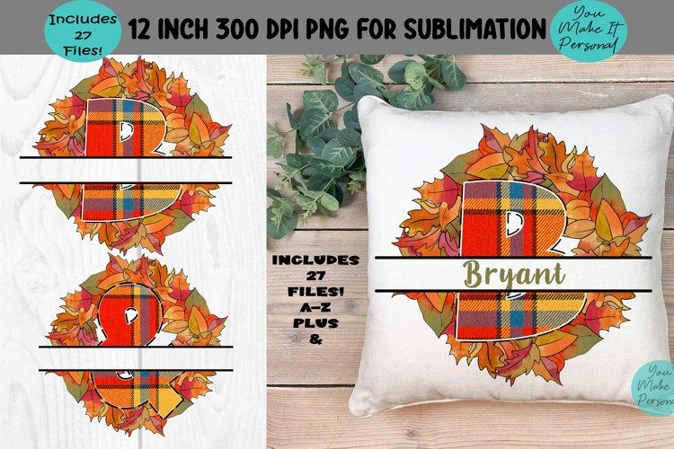 Fall Wreath, Split Letter Alphabet for Sublimation & Crafts!